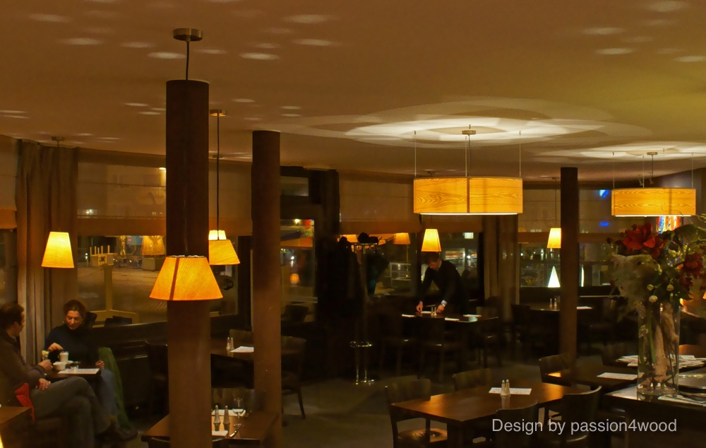 O-ring and small pendant lights in ash wood 2 - restaurant edgar