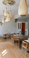 design wooden pendant lights in a restaurant