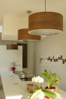 Drum light - pendant lamp above a kitchen table made of walnut wood