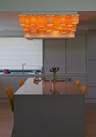 ceiling lamp in maple wood - 30 tubes with led above kitchen table