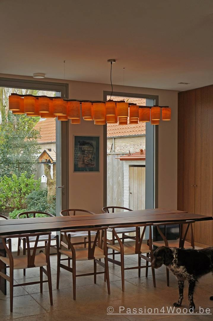 Carillon pendant lighting in maple wood