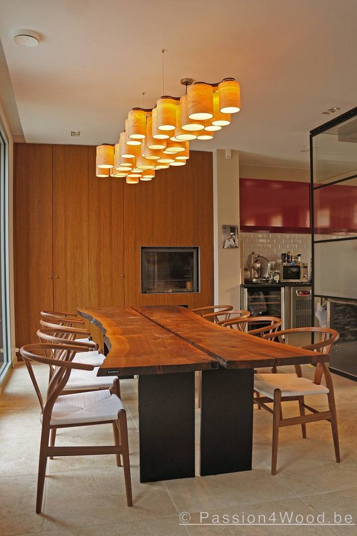 Carillon pendant lamp in maple wood