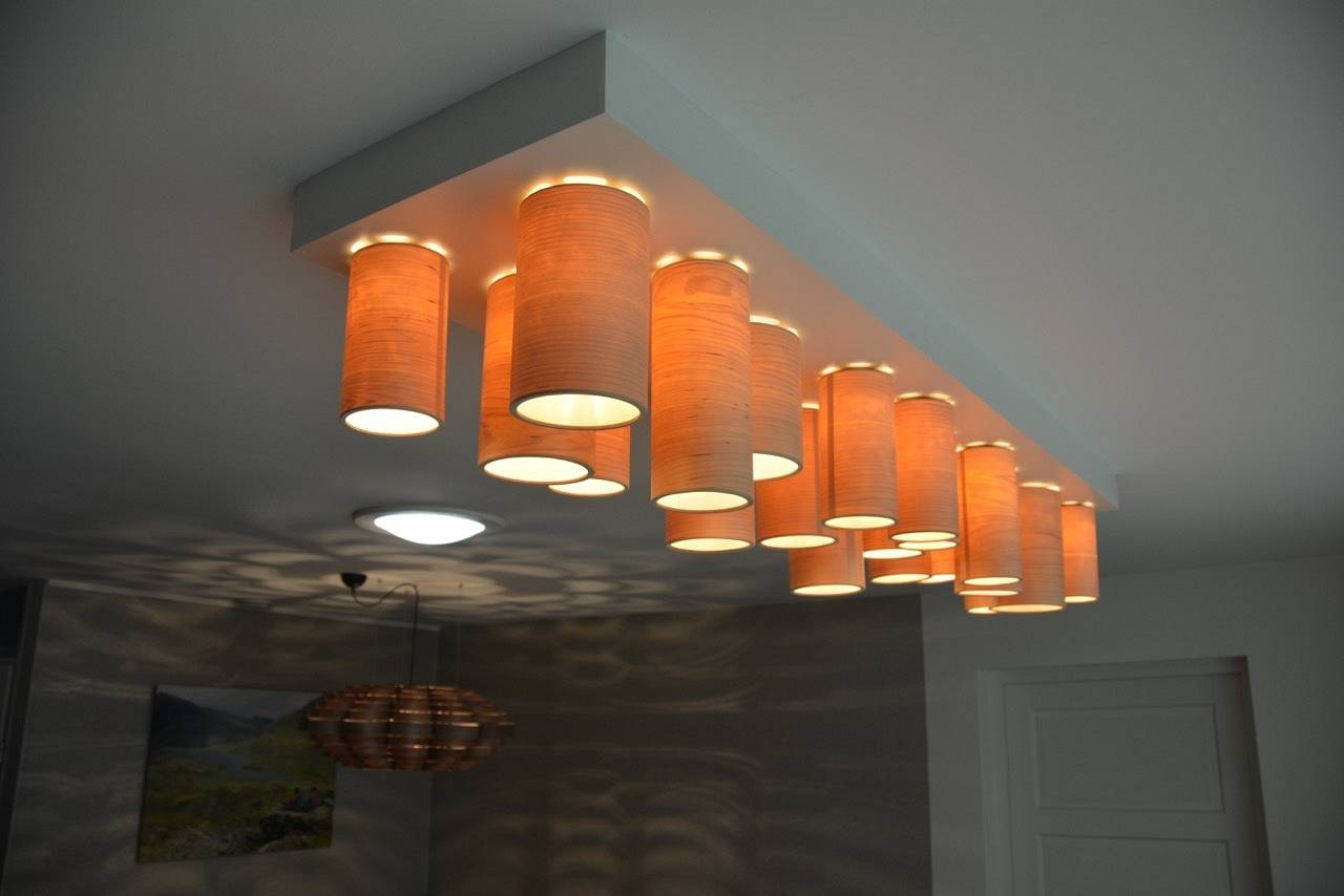 Kitchen project with glow and carillon lamp walnut wood
