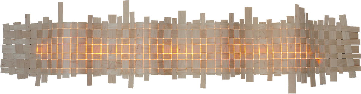 Design wall lamp with woven pattern in maple wood