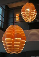 Glow pendant lamp in maple wood and seven Oak wall lamp