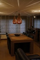 Set of rain lamps in walnut wood above table