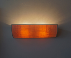 Uplight wall lamp in maple wood-frontview